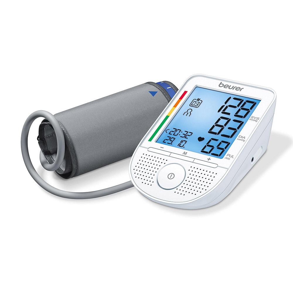 Beurer sprechendes Oberarm Blutdruckmessgerät BM 49 weiß mit grauer Manschette
