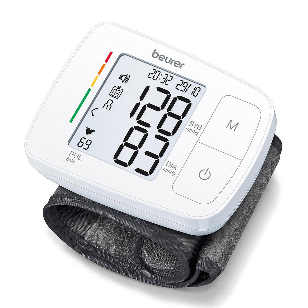 Beurer sprechendes Handgelenk Blutdruckmessgerät BC 21 weiß mit grauer Manschette